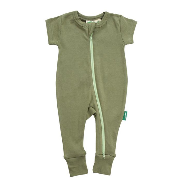 Parade Organics - Essential Basics '2 Way' Zip Romper - Short Sleeve - Olive - Growing Co. Kids Eco Store