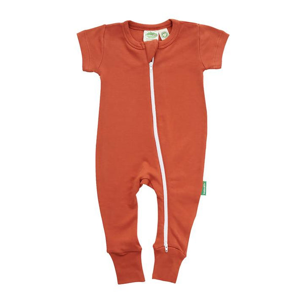 Parade Organics - Essential Basics '2 Way' Zip Romper - Short Sleeve - Rust - Growing Co. Kids Eco Store