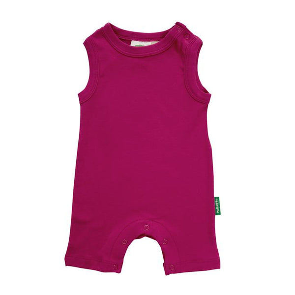 Parade Organics - Tank Romper - Essentials - Raspberry - Growing Co. Kids Eco Store