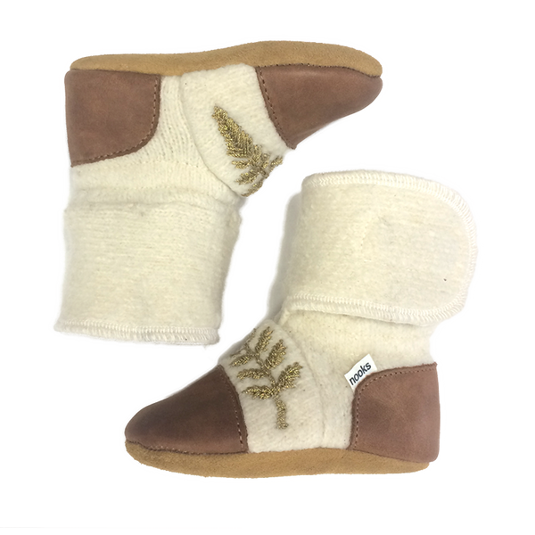 Nooks - Wool Booties - Snowy Owl - Bootie - Growing Co. Kids Eco Store