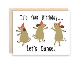 Dancing Dogs Birthday Card - Greeting Card - Growing Co. Kids Eco Store