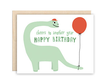 Dinosaur with Balloon Birthday Card - Greeting Card - Growing Co. Kids Eco Store