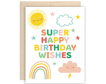 Super Happy Birthday Wishes Birthday Card - Greeting Card - Growing Co. Kids Eco Store