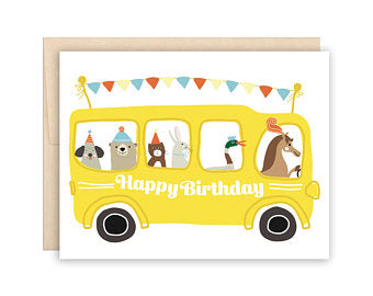 The Beautiful Project - Birthday Card - School Bus - Growing Co. Kids Eco Store