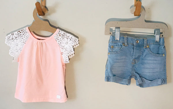 Tea Collection - Pink Shirt/Jean Shorts Set - (Baby)