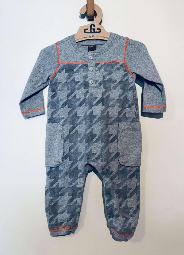 Baby Consignment - Tea Collection -Grey Oversized Houndstooth Playsuit