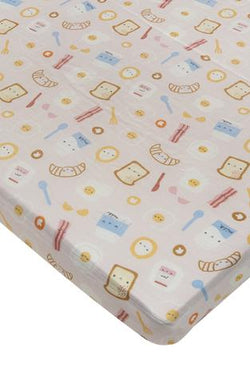 Loulou Lollipop - Crib Sheet (Breakfast Pink) - Crib Sheet - Growing Co. Kids Eco Store