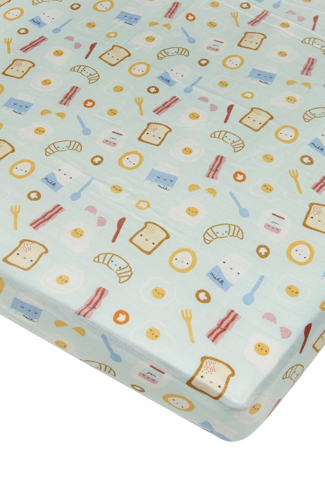 Loulou Lollipop - Crib Sheet (Breakfast Blue) - Crib Sheet - Growing Co. Kids Eco Store