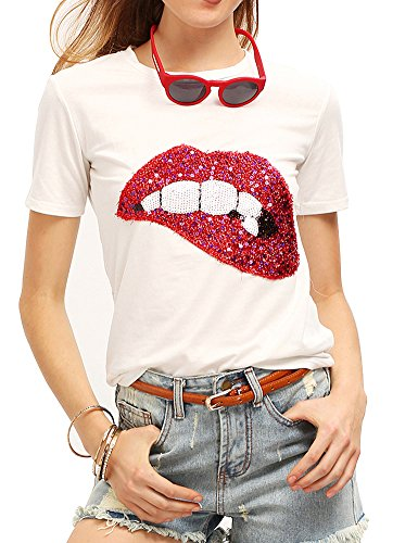 Women's Sequined Sparkely Glittery Lip Print T Shirt Cute Embroidery Teen Girls Tops