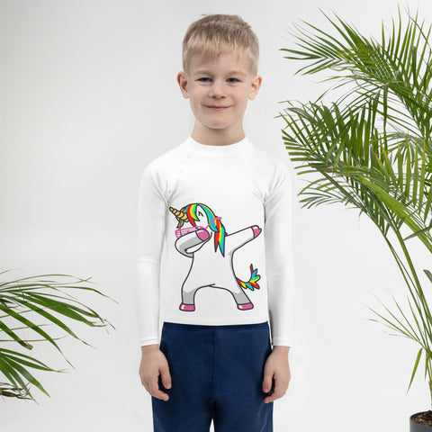 Dabbing unicorn Kids Rash Guard