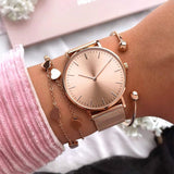Mavis Hare Rose Gold Beauty rose Mesh Women Watches with Heart Bracelet Mesh Bracelet & Crystal Ball Cuff Bangles as gift