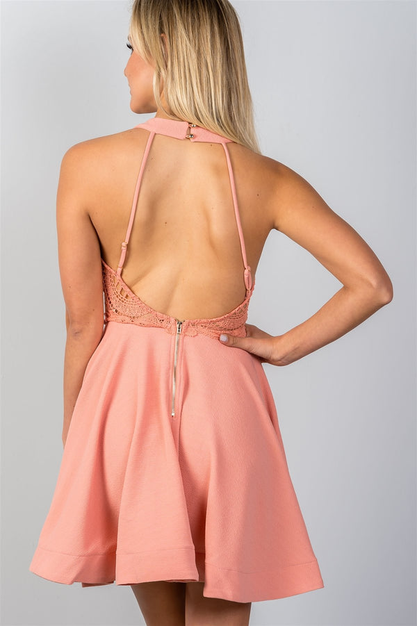 Ladies fashion blush high neck open back mini dress