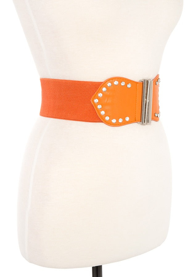 Studded accent faux leather stretch belt
