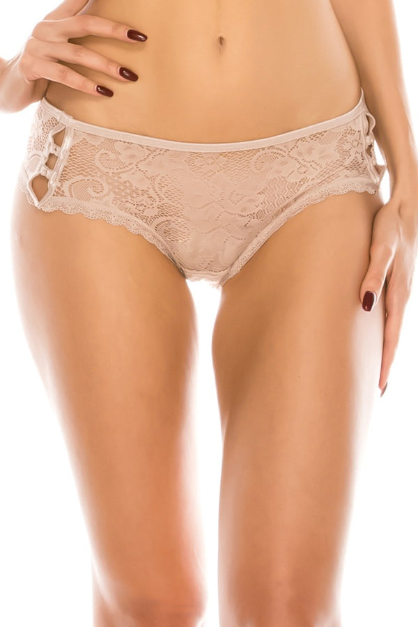 Caged side lace bikini panty