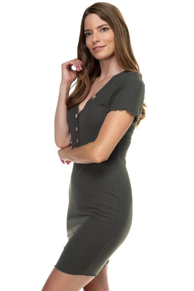Ribbed Button Trim Mini Dress