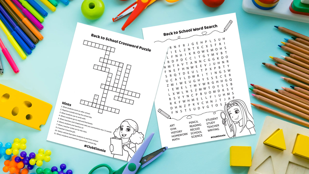 back to school puzzles, crossword puzzles, word searches, word search for kids