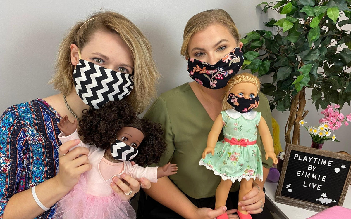 playtime by eimmie live, no sew face masks for dolls, no sew face masks, how to make no sew face masks