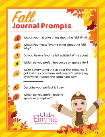 fall journal prompts for kids