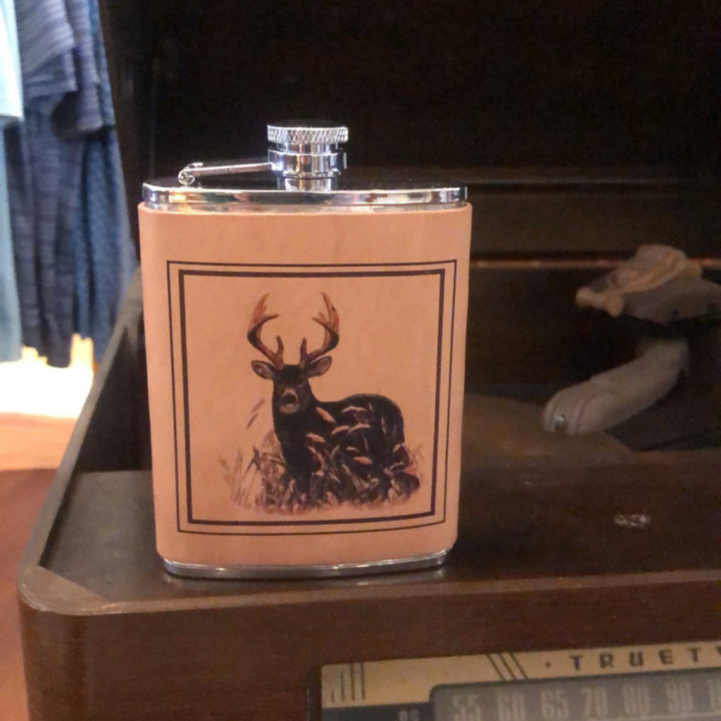 Leather Flask with Deer Embossing