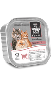 Paté Three Cat gatos castrados sabor pollo