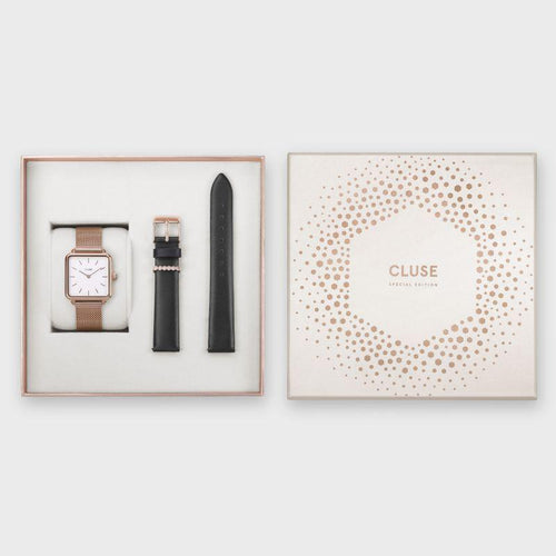 Image: CLUSE Special Edition La Tétragone Rose Gold Mesh/Black Gift Box CLG014 – Cadeausets