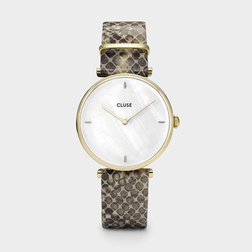 Image: CLUSE Triomphe Gold White Pearl/Soft Almond Python CL61008 - Horloge