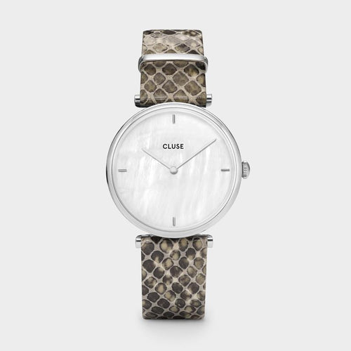 Image: CLUSE Triomphe Silver White Pearl/Soft Grey Python CL61009 - Horloge