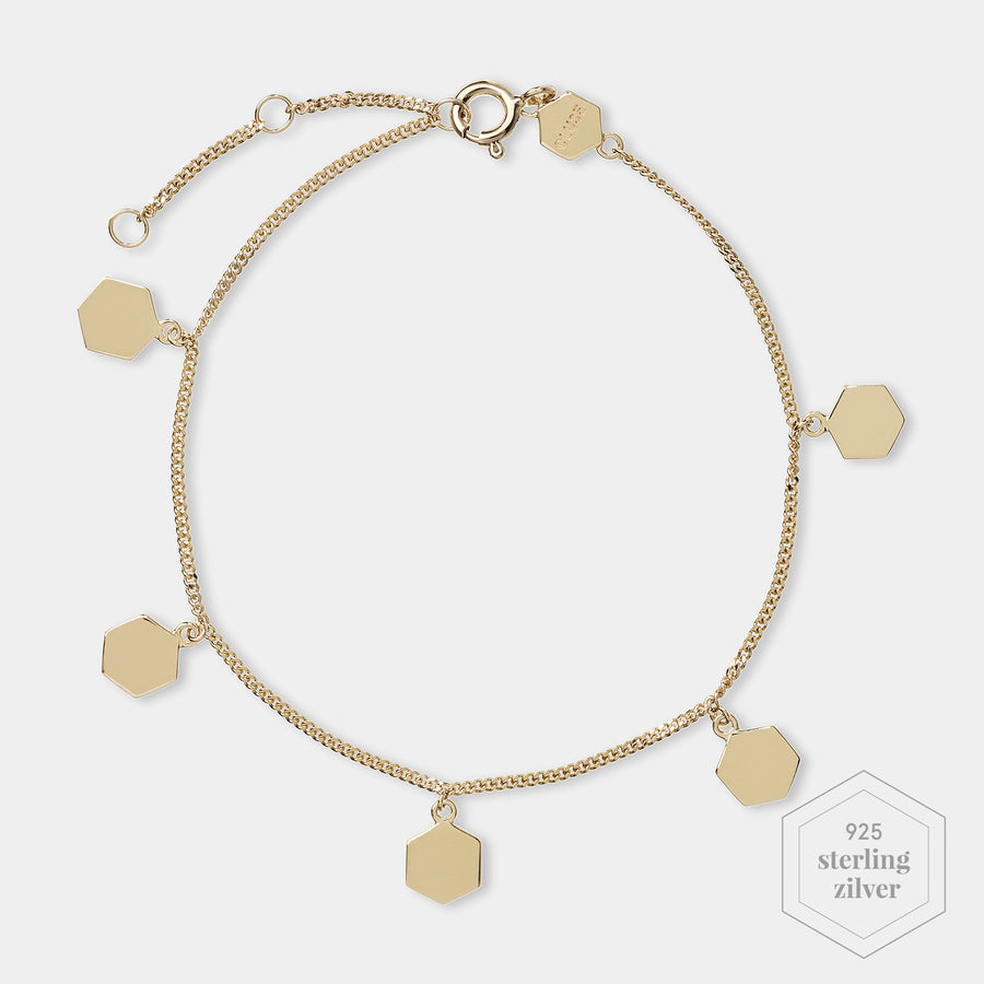 CLUSE Essentielle Gold Hexagon Charms Chain Bracelet CLJ11018 - Armbandje