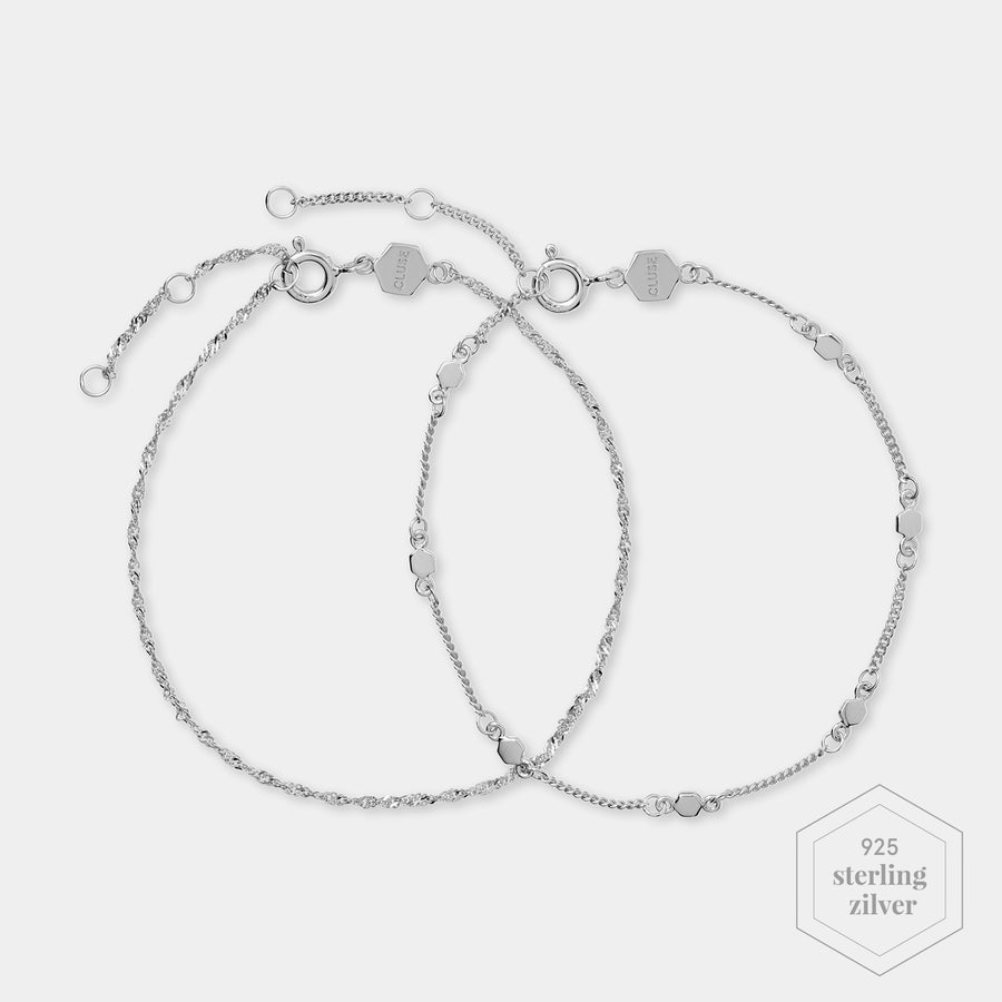 CLUSE Essentielle Silver Set of ​Two ​twisted and Hexagon Chain Bracelets CLJ12019 - Armband
