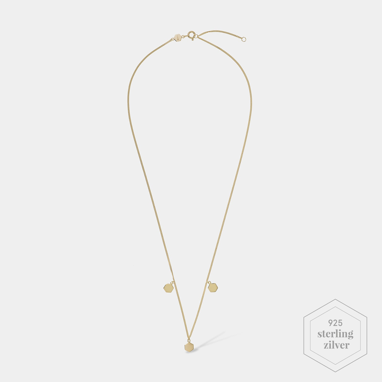 CLUSE Essentielle Gold Three Hexagon Charms Necklace CLJ21012 - Ketting