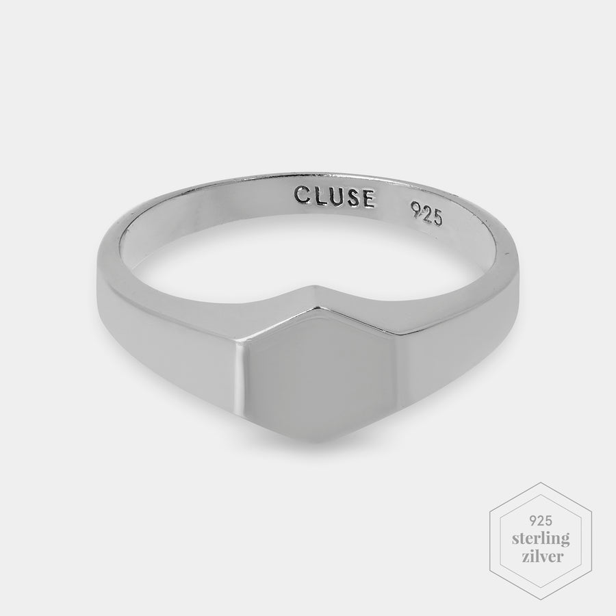 CLUSE Essentielle Silver Hexagon Ring 48 CLJ42011-48 - Ring maat 48