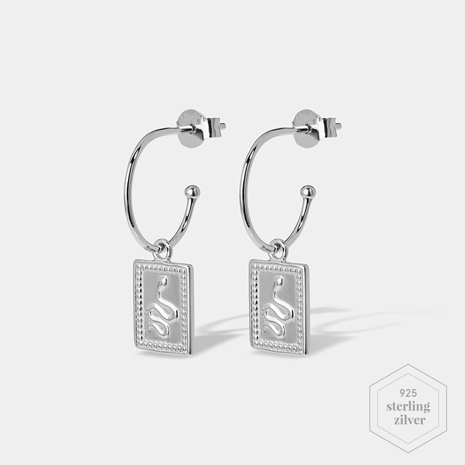 CLUSE Force Tropicale Silver Hoop Tag Pendant Earrings CLJ52019 - Oorbellen