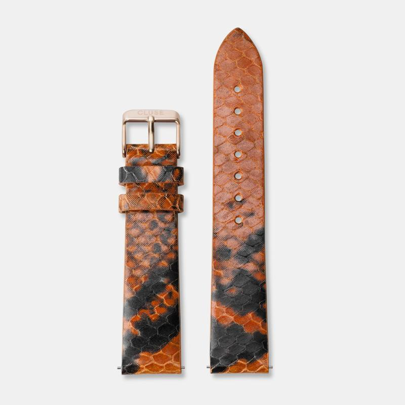 CLUSE 18 mm Strap Orange Python/Rose Gold CLS086 - Bandje