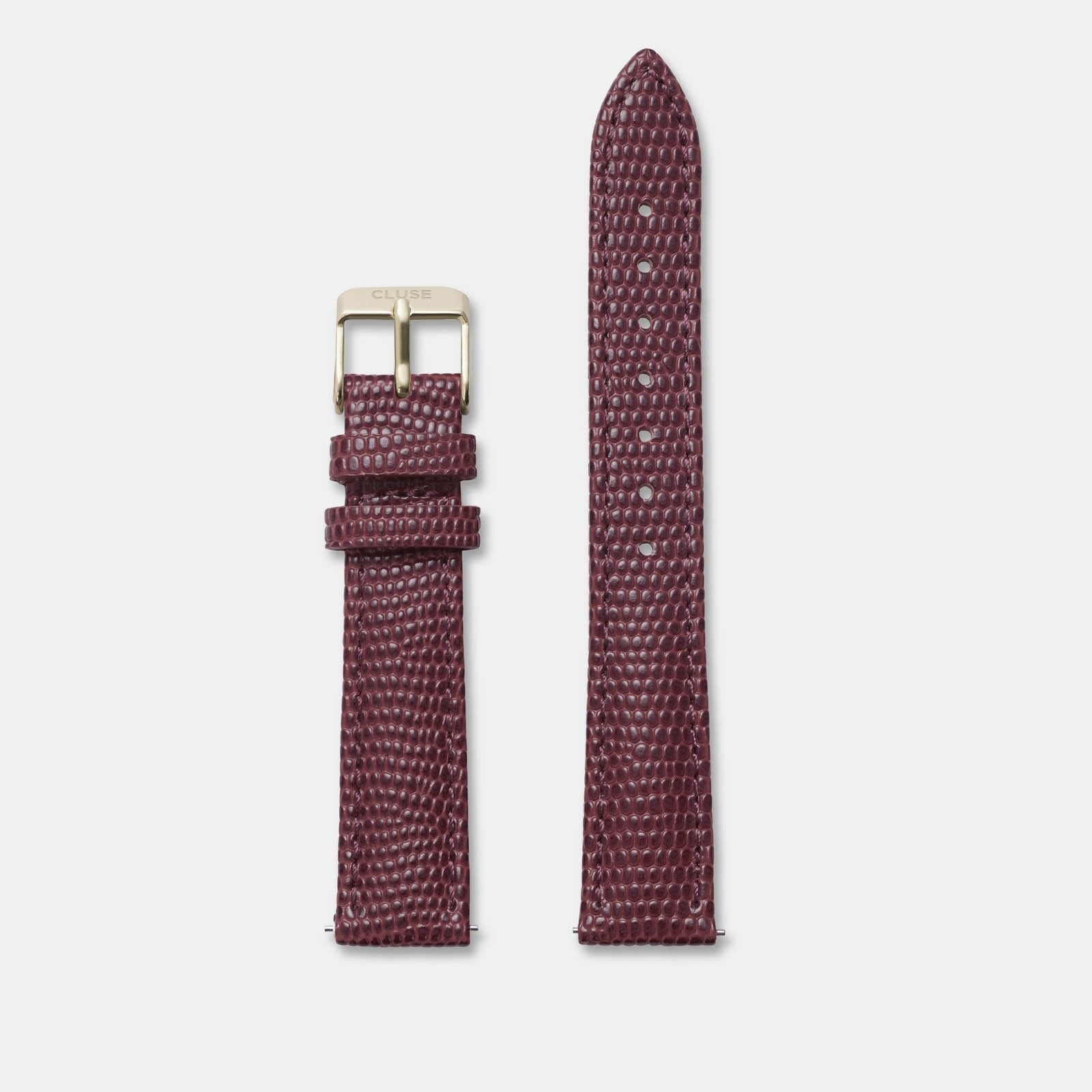 CLUSE 16 mm Strap Burgundy Lizard/Gold CLS379 - bandje