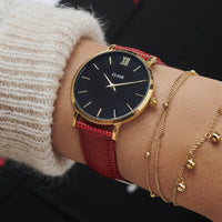 CLUSE 16 mm Strap Deep Red Lizard/Gold CLS382 - bandje op pols