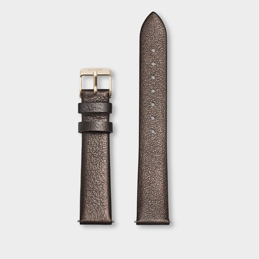 CLUSE Strap 16 mm Leather Chocolate Brown Metallic/ Gold - bandje