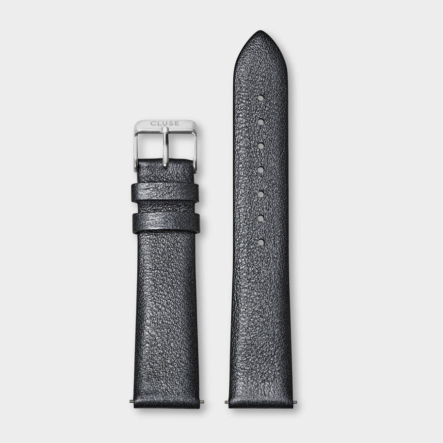 CLUSE Strap 18 mm Leather Dark Grey Metallic/ Silver - bandje