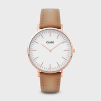 CLUSE La Bohème Leather Rose Gold White/Hazelnut CW0101201015 - horloge