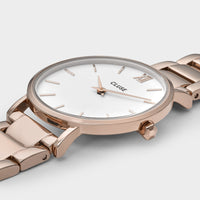 CLUSE Minuit 3-Link Rose Gold White/Rose Gold - Detail horlogekast