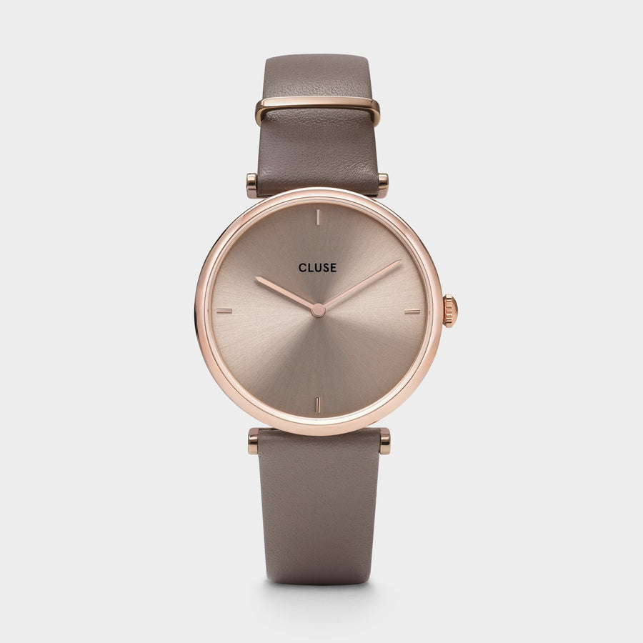 CLUSE Triomphe Leather Rose Gold Soft Taupe/Soft Taupe - Horloge