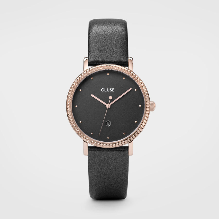 CLUSE Le Couronnement Leather Rose Gold Dark Grey/Dark Grey - Horloge