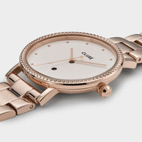 CLUSE Le Couronnement 3-Link Rose Gold Winter white/Rose Gold - Detail horlogekast