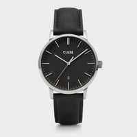 CLUSE Aravis leather silver black/black CW0101501001 - Horloge