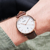 CLUSE Aravis leather rose gold white/dark brown CW0101501002 - Horloge op de pols