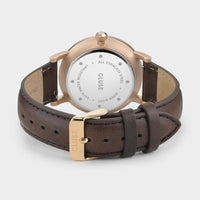 CLUSE Aravis leather rose gold white/dark brown CW0101501002 - Sluiting horloge