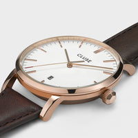 CLUSE Aravis leather rose gold white/dark brown CW0101501002 - Detail horlogekast