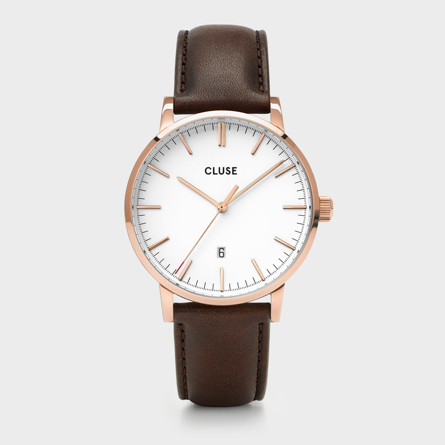 CLUSE Aravis leather rose gold white/dark brown CW0101501002 - Horloge