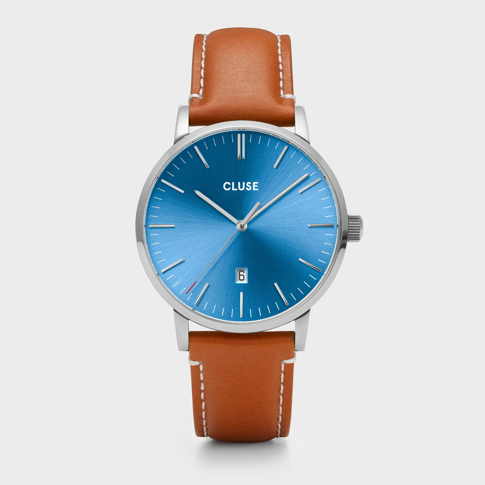 CLUSE Aravis leather silver blue/light brown CW0101501005 - Horloge