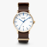 CLUSE Aravis nato leather gold white/dark brown CW0101501007 - Horloge