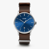 CLUSE Aravis nato leather silver dark blue/dark brown CW0101501008 - Horloge